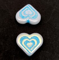 Heart in Heart gyöngy - Alabaster AB Turquoise - 14x16mm
