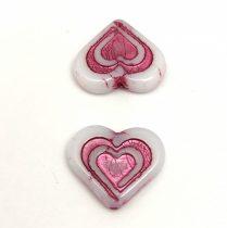 Heart in Heart gyöngy - Alabaster Fuchsia - 14x16mm
