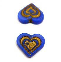Heart in Heart gyöngy - Matt Sapphire Gold - 14x16mm