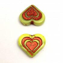 Heart in Heart gyöngy - Avocado Copper - 14x16mm