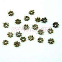 Medál - Heishi kis virág - sárgaréz színű -5mm