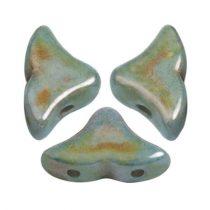 Hélios® par Puca®gyöngy - Opaque Blue Green Ceramic Look - 6x10 mm