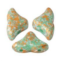 Hélios® par Puca®gyöngy - Opaque Green Turquoise Tweedy - 6x10 mm