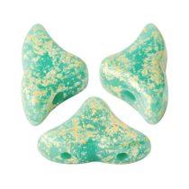 Hélios® par Puca®gyöngy - Opaque Green Turquoise Splash - 6x10 mm