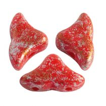 Hélios® par Puca®gyöngy - Opaque Coral Red Tweedy - 6x10 mm