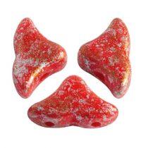 Hélios® par Puca®gyöngy - Opaque Coral Red Tweedy - 6x10 mm