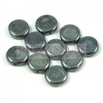 Cseh préselt lencse gyöngy - hosszában fúrt - hematite - 10mm