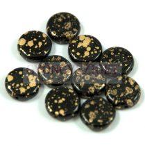 Cseh préselt lencse gyöngy - hosszában fúrt - arany patina - 10mm