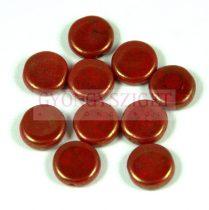 Cseh préselt lencse gyöngy - hosszában fúrt - piros bronz lüszter - 10mm