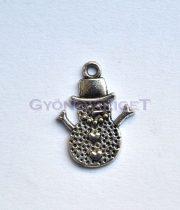 Medál - hóember - antik ezüst színű - 14x20 mm