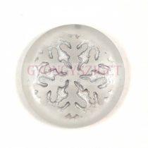 Üveg kaboson - Hópihe - Crystal Matt Silver - 21mm