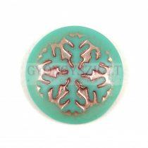 Üveg kaboson - Hópihe - Matt Green Turquoise Silver - 21mm
