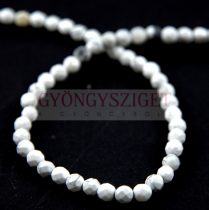 Howlite - round bead - faceted - 4mm - strand (appr. 87 pcs/strand)