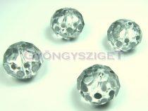 Kézzel festett csiszolt kristálygyöngy - antik ezüst pöttyös - 13x18mm