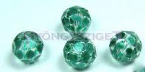 Kézzel festett csiszolt kristálygyöngy - metál emerald pöttyös - 10mm
