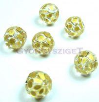 Kézzel festett csiszolt kristálygyöngy - metál sárga arany pöttyös - 10mm
