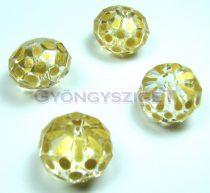 Kézzel festett csiszolt kristálygyöngy - metál sárga-arany pöttyös - 13x18mm