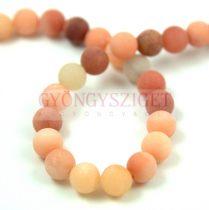 Jade gyöngy - matt peach - színezett - 8mm - szálon