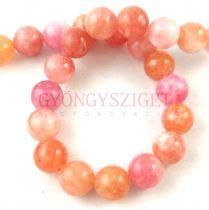 Jade gyöngy - színezett - Peach Pink - 8mm - szálon (kb. 45 db/szál)
