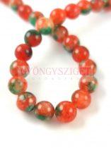 Jade gyöngy - színezett - Amber Green - 8mm - szálon (kb. 45 db/szál)