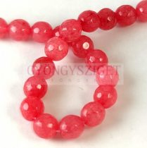 Jade - round bead - dyed - faceted - Raspberry  - 8mm - strand