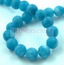 Jade gyöngy - színezett - matt - Blue - 8mm - szálon (kb. 45 db/szál)