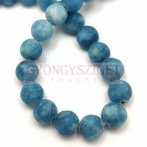 Jade gyöngy - színezett - matt - Denim Blue - 8mm - szálon (kb. 45 db/szál)