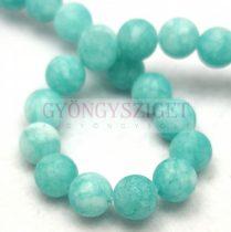 Jade gyöngy - színezett - matt - Light Turquoise - 8mm - szálon (kb. 45 db/szál)