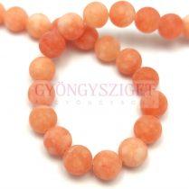 Jade gyöngy - színezett - matt - Peach - 8mm - szálon (kb. 45 db/szál)