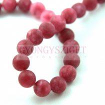 Jade gyöngy - színezett - matt - Sour Cherry - 8mm - szálon (kb. 45 db/szál)