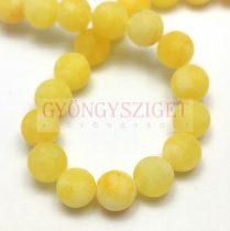 Jade gyöngy - színezett - matt - Yellow - 8mm - szálon (kb. 45 db/szál)