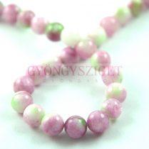 Jade gyöngy - színezett - Pink Green - 8mm - szálon (kb. 45 db/szál)