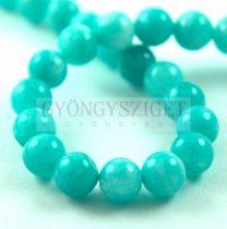 Jade gyöngy - színezett - Turquoise Green - 8mm - szálon (kb. 45 db/szál)