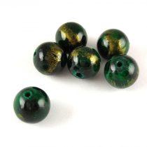 Mashan Jáde gyöngy arany lüszter - Emerald - 10mm