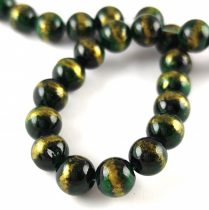Mashan Jáde gyöngy arany lüszter - Emerald - 8mm