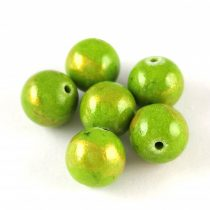 Mashan Jáde gyöngy arany lüszter - Green - 10mm