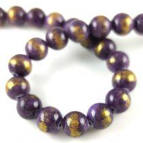 Mashan Jáde gyöngy arany lüszter - Light Purple - 8mm - szálon