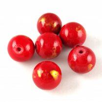 Mashan Jáde gyöngy arany lüszter - Red - 10mm