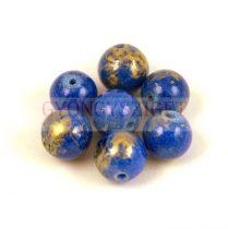 Mashan Jáde gyöngy arany lüszter - Sapphire - 8mm