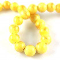 Mashan Jáde gyöngy arany lüszter - Yellow - 6mm - szálon