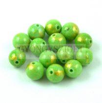 Mashan Jáde gyöngy arany lüszter - Zöld - 6mm