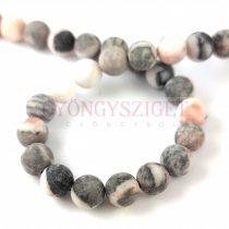 Jasper round bead -  matt zebra - pink - 6mm - strand