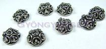 Gyöngykupak - rózsamintás - ezüst színű - 12x6mm