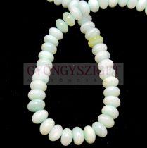 Kagyló gyöngy - rondelle - Green - 6x4mm - szálon (kb. 90 db/szál)