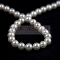 Kagyló gyöngy - White - 4mm - szálon