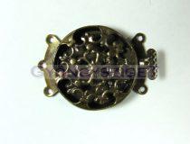 Kapocs - kerek virágmintás kapocs - antik sárgaréz színű - 22mm