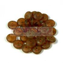 Cseh középen fúrt préselt lencse gyöngy - matte amethyst picasso -6mm