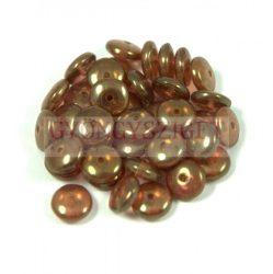 Lentil - Czech Glass bead - peridot peach luster - 6mm