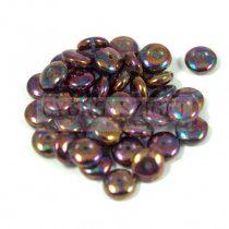 Cseh középen fúrt préselt lencse gyöngy - peridot lila bronz írisz - 6mm