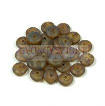 Lentil - Czech Glass bead - matte peridot picasso -6mm